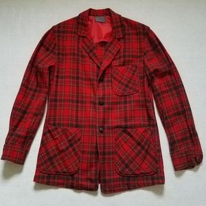 Vintage Pendelton jacket blazer shirt red plaid S